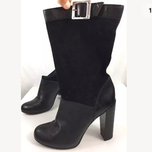 Rachel Zoe Black Leather Slip On Boots